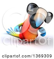 Clipart Of A 3d Scarlet Macaw Parrot Wearing Sunglasses And Walking On A White Background Royalty Free Illustration