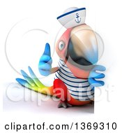 Clipart Of A 3d Scarlet Macaw Parrot Sailor Giving A Thumb Up Around A Sign On A White Background Royalty Free Illustration