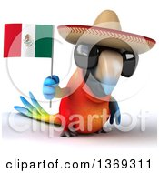 Clipart Of A 3d Scarlet Macaw Parrot Wearing A Sombrero And Holding A Mexican Flag On A White Background Royalty Free Illustration