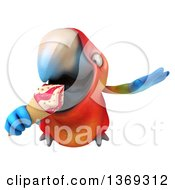 Clipart Of A 3d Scarlet Macaw Parrot Flying And Eating A Waffle Ice Cream Cone On A White Background Royalty Free Illustration