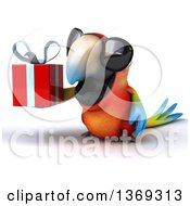 Clipart Of A 3d Scarlet Macaw Parrot Holding A Gift And Wearing Sunglasses On A White Background Royalty Free Illustration