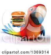Clipart Of A 3d Scarlet Macaw Parrot Holding A Double Cheeseburger On A White Background Royalty Free Illustration