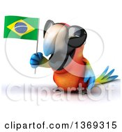 Clipart Of A 3d Scarlet Macaw Parrot Holding A Brazilian Flag And Wearing Sunglasses On A White Background Royalty Free Illustration
