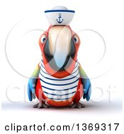 Clipart Of A 3d Scarlet Macaw Parrot Sailor On A White Background Royalty Free Illustration by Julos
