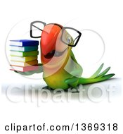 Clipart Of A 3d Green Macaw Parrot Holding A Stack Of Books And Wearing Glasses On A White Background Royalty Free Illustration