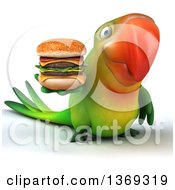 Clipart Of A 3d Green Macaw Parrot Holding A Double Cheeseburger On A White Background Royalty Free Illustration