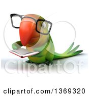 Clipart Of A 3d Green Macaw Parrot Reading A Book And Wearing Glasses On A White Background Royalty Free Illustration