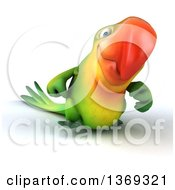 Clipart Of A 3d Green Macaw Parrot Walking On A White Background Royalty Free Illustration