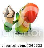 Clipart Of A 3d Green Macaw Parrot Holding A Waffle Ice Cream Cone On A White Background Royalty Free Illustration