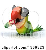 Clipart Of A 3d Green Macaw Parrot Eating A Waffle Ice Cream Cone On A White Background Royalty Free Illustration