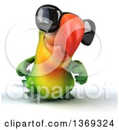 Clipart Of A 3d Green Macaw Parrot Wearing Sunglasses And Walking On A White Background Royalty Free Illustration