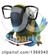 Clipart Of A 3d Bespectacled Blue And Yellow Macaw Parrot Flying And Reading A Book On A White Background Royalty Free Illustration