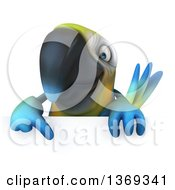 Clipart Of A 3d Blue And Yellow Macaw Parrot Over A Sign On A White Background Royalty Free Illustration