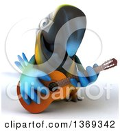 3d Blue And Yellow Macaw Parrot Playing A Guitar On A White Background