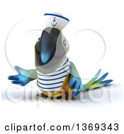 Clipart Of A 3d Blue And Yellow Macaw Parrot Sailor On A White Background Royalty Free Illustration
