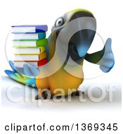 Clipart Of A 3d Blue And Yellow Macaw Parrot Giving A Thumb Up And Holding A Stack Of Books On A White Background Royalty Free Illustration