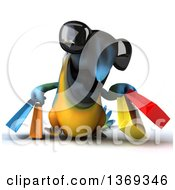 Clipart Of A 3d Blue And Yellow Macaw Parrot Carrying Shopping Bags On A White Background Royalty Free Illustration