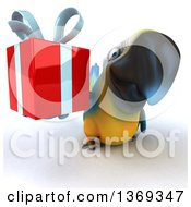 Clipart Of A 3d Blue And Yellow Macaw Parrot Holding A Gift On A White Background Royalty Free Illustration