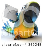 Clipart Of A 3d Blue And Yellow Macaw Parrot Holding An Envelope On A White Background Royalty Free Illustration