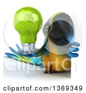 Clipart Of A 3d Blue And Yellow Macaw Parrot Holding A Light Bulb Around A Sign On A White Background Royalty Free Illustration