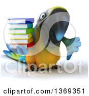 Clipart Of A 3d Blue And Yellow Macaw Parrot Giving A Thumb Down And Holding A Stack Of Books On A White Background Royalty Free Illustration