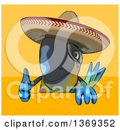 Clipart Of A Cartoon Blue And Yellow Mexican Macaw Parrot Flying On A Yellow And Orange Background Royalty Free Illustration