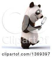 Clipart Of A 3d Panda Searching With A Magnifying Glass On A White Background Royalty Free Illustration