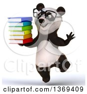 Clipart Of A 3d Panda Wearing Glasses Jumping And Holding Books On A White Background Royalty Free Illustration