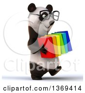 Clipart Of A 3d Panda Wearing Glasses And Carrying Books On A White Background Royalty Free Illustration