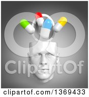 Clipart Of A 3d Open White Male Head With Pills On A Gray Background Royalty Free Illustration