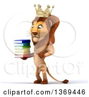 Clipart Of A 3d Lion King Holding A Stack Of Books On A White Background Royalty Free Illustration