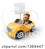 Clipart Of A 3d Lion King Holding A Blank Sign And Driving A Convertible Car On A White Background Royalty Free Illustration