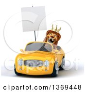 3d Lion King Holding A Blank Sign And Driving A Convertible Car On A White Background