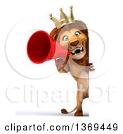 3d Lion King Using A Megaphone Around A Sign On A White Background