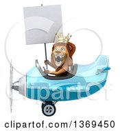 3d Lion King Flying An Airplane On A White Background