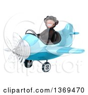 Clipart Of A 3d Chimpanzee Monkey Aviator Pilot Wearing Sunglasses And Flying A Blue Airplane On A White Background Royalty Free Illustration