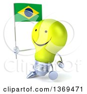 Clipart Of A 3d Happy Yellow Light Bulb Character Holding A Brazilian Flag On A White Background Royalty Free Illustration