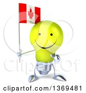Clipart Of A 3d Happy Yellow Light Bulb Character Holding A Canadian Flag On A White Background Royalty Free Illustration