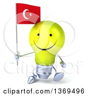 Clipart Of A 3d Happy Yellow Light Bulb Character Holding A Turkish Flag On A White Background Royalty Free Illustration