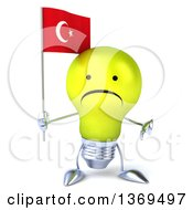 Clipart Of A 3d Unhappy Yellow Light Bulb Character Holding A Turkish Flag On A White Background Royalty Free Illustration