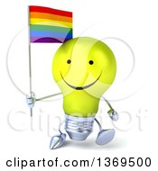 Clipart Of A 3d Happy Yellow Light Bulb Character Holding A Rainbow Flag On A White Background Royalty Free Illustration