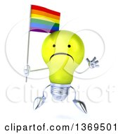 Clipart Of A 3d Unhappy Yellow Light Bulb Character Holding A Rainbow Flag On A White Background Royalty Free Illustration