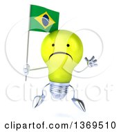 Clipart Of A 3d Unhappy Yellow Light Bulb Character Holding A Brazilian Flag On A White Background Royalty Free Illustration