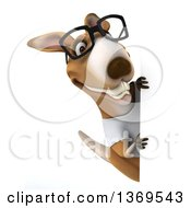 Clipart Of A 3d Casual Kangaroo Wearing A White Tee Shirt And Glasses Around A Sign On A White Background Royalty Free Illustration