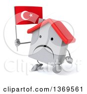 Clipart Of A 3d White Home Character Holding A Turkish Flag On A White Background Royalty Free Illustration