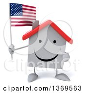Clipart Of A 3d White Home Character Holding An American Flag On A White Background Royalty Free Illustration