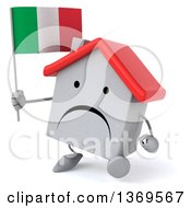 Clipart Of A 3d White Home Character Holding An Italian Flag On A White Background Royalty Free Illustration