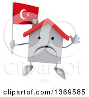 Clipart Of A 3d Unhappy White Home Character Holding A Turkish Flag On A White Background Royalty Free Illustration