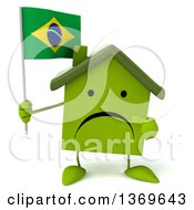 Clipart Of A 3d Unhappy Green House Character Holding A Brazilian Flag On A White Background Royalty Free Illustration
