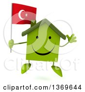 Clipart Of A 3d Happy Green House Character Holding A Turkish Flag On A White Background Royalty Free Illustration
